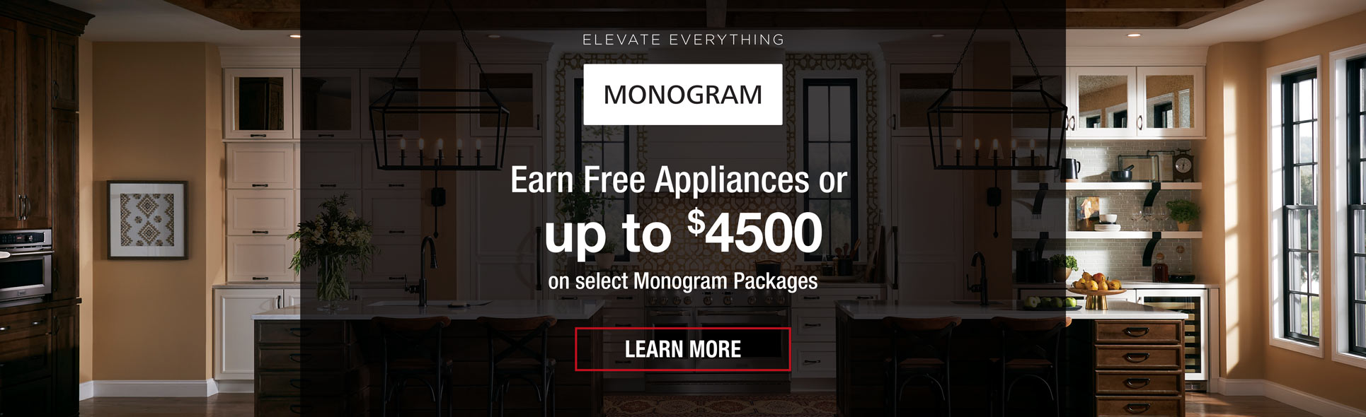 earn free appliances or up to $4500 back on monogram appliances