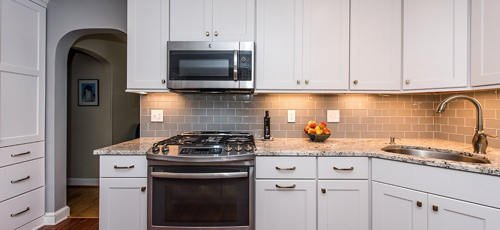 Elegant Maple Kitchen in Arlington, VA with GE Profile Appliances and Omega Cabinetry. ‹ ›