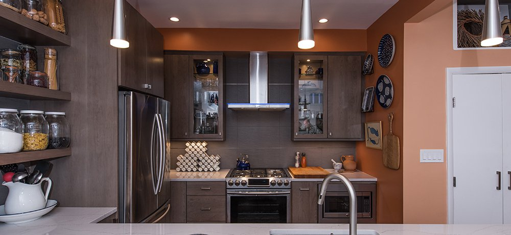 Modern Condo Kitchen In Washington, DC With Stainless Steel Appliances And  Omega Cabinetry. U2039 U203a
