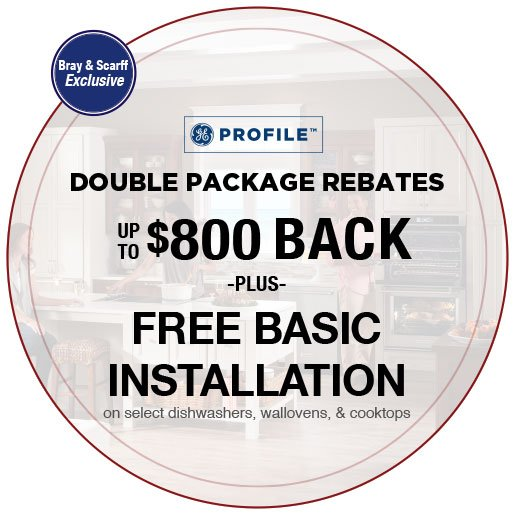 Profile  Exclusive Double Package Rebate PLUS FBI select dishwashers, wall ovens, and cooktops